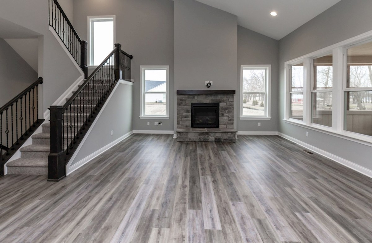 Charleston quick move-in great room with brick fireplace