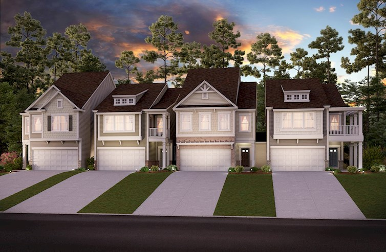 Two-story townhomes with 2-car garage