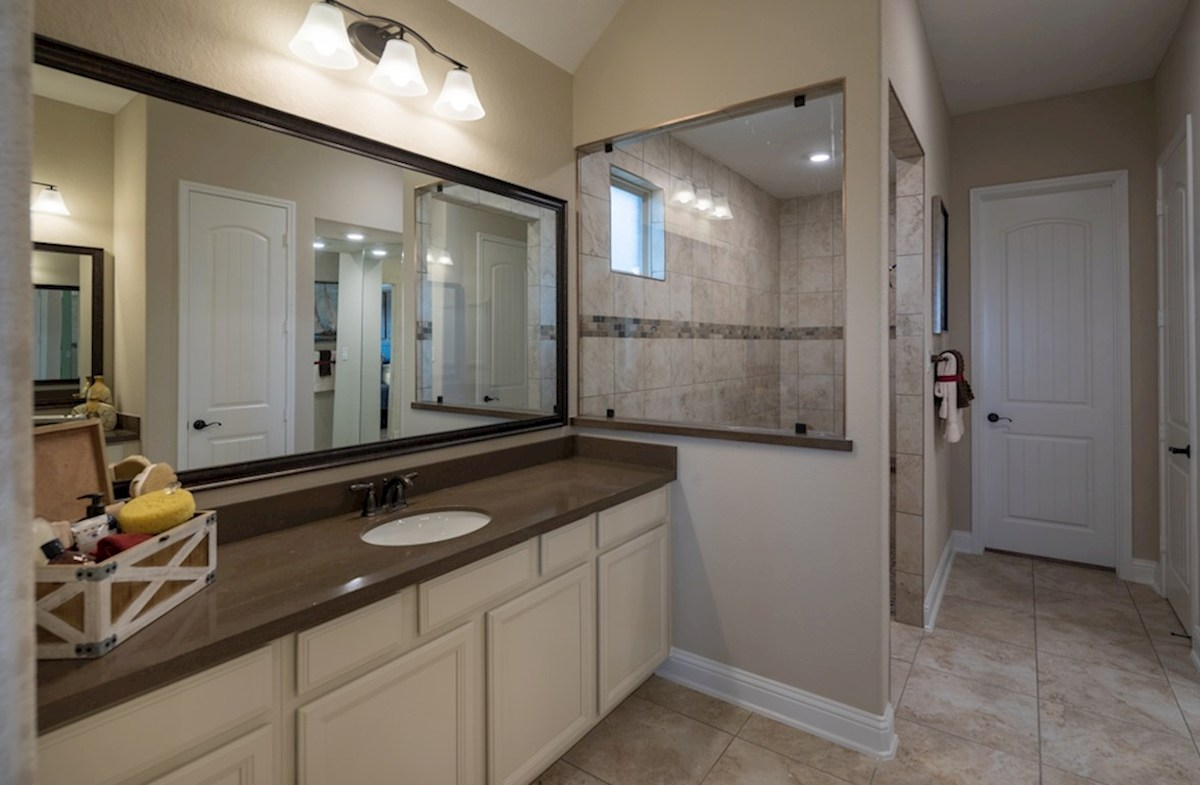 Young Ranch Fredericksburg master bath with oversized shower