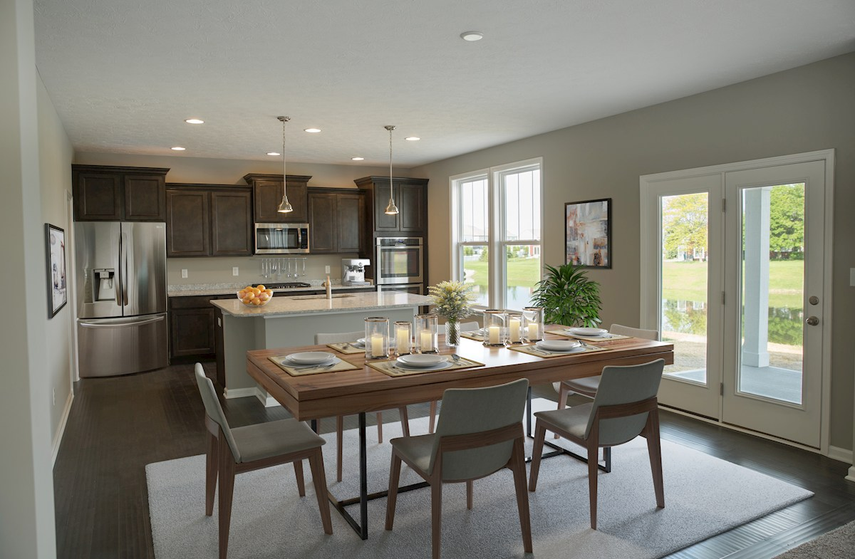 Porter kitchen with large island for dining