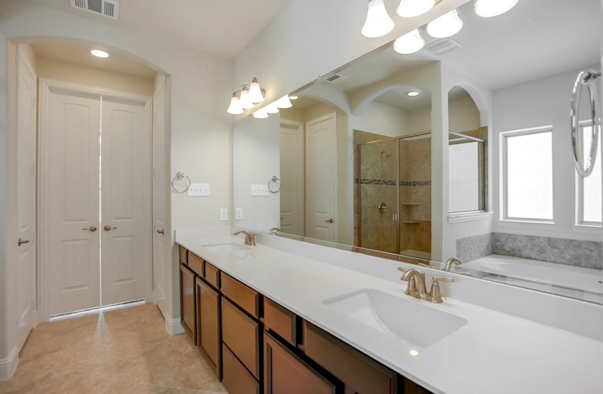 Richland quick move-in master bath includes dual vanities