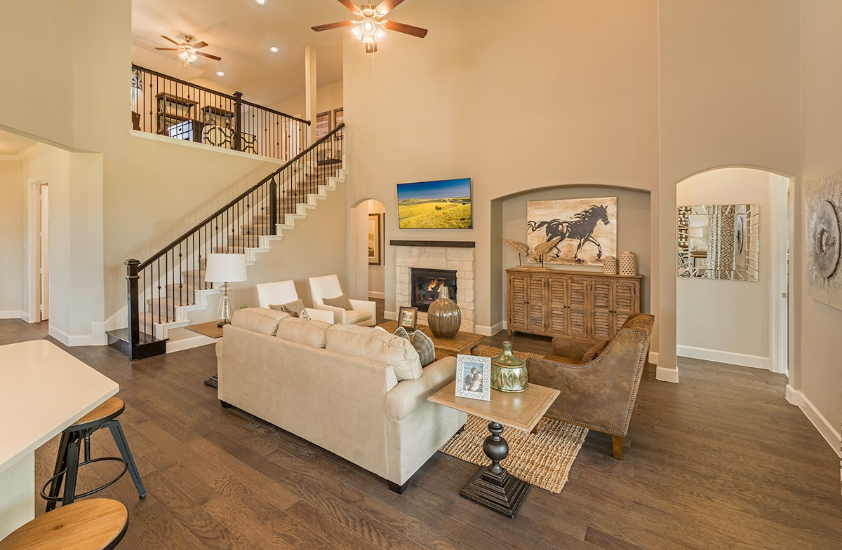 great room boasts two-story ceilings