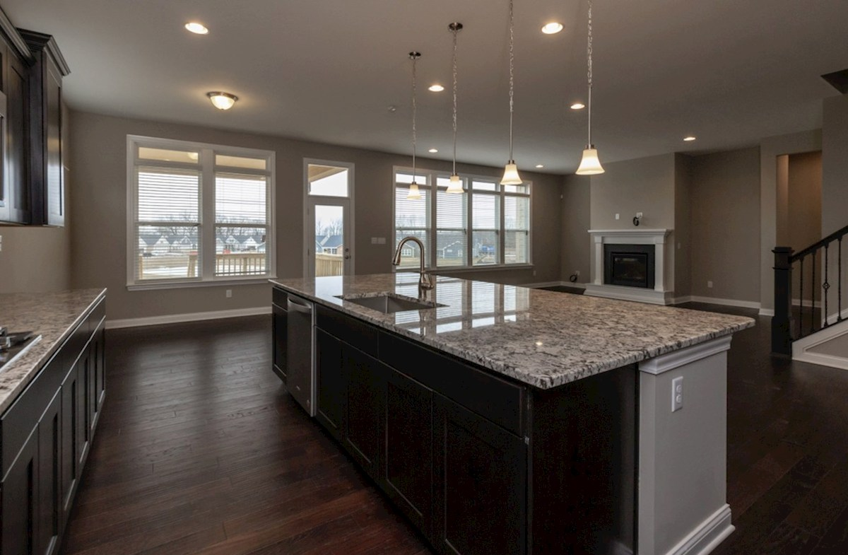 Windsor quick move-in kitchen with large island and granite countertops