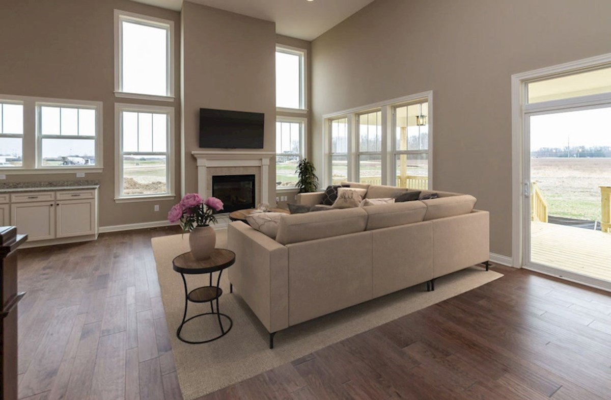 Hampshire Meridian Collection Kessler great room  with hardwood floors and fireplace