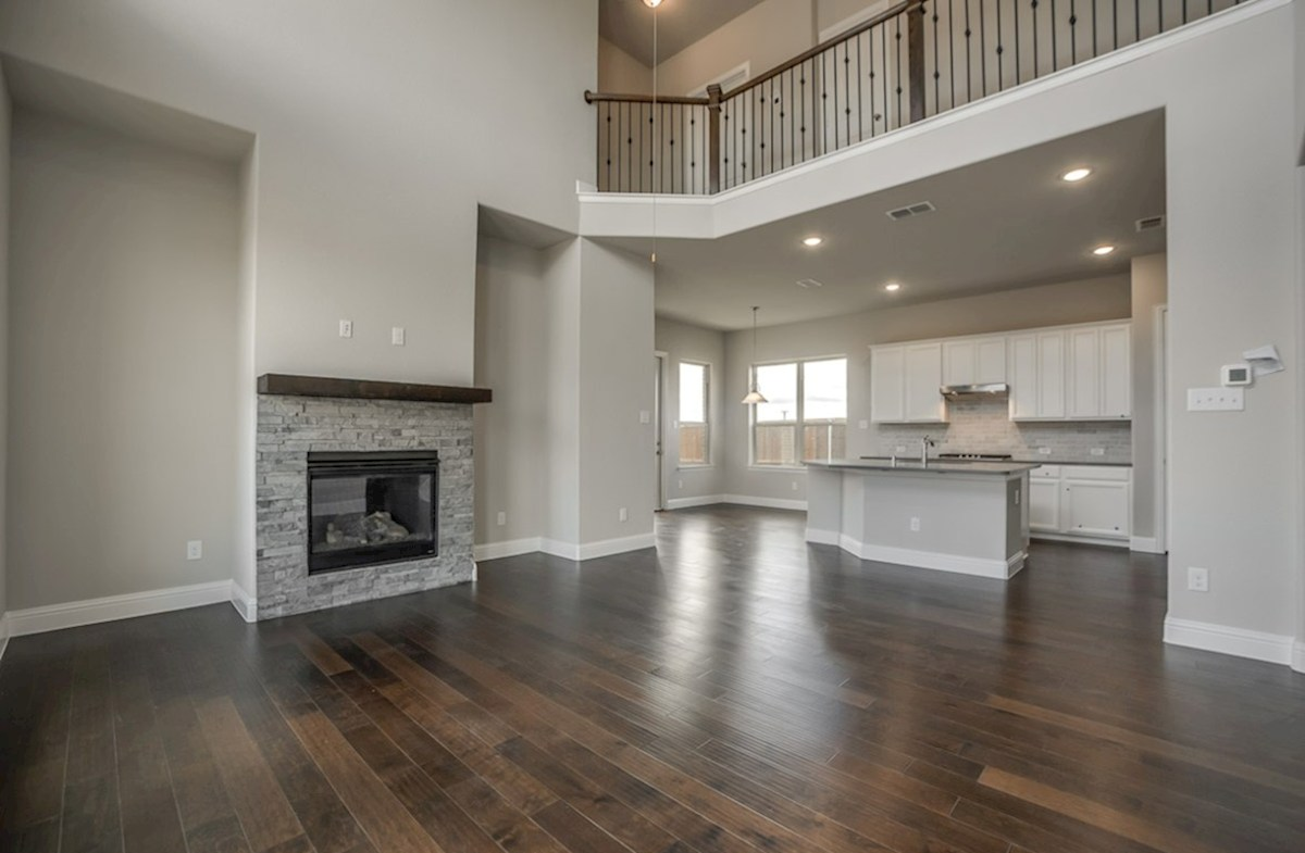 Fairfield quick move-in open great room with wood floors and fireplace