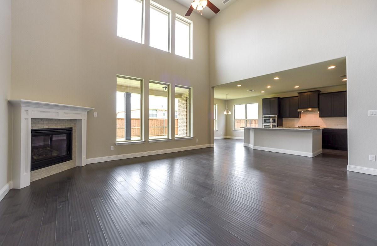 Trinity quick move-in great room offers windows with natural lighting