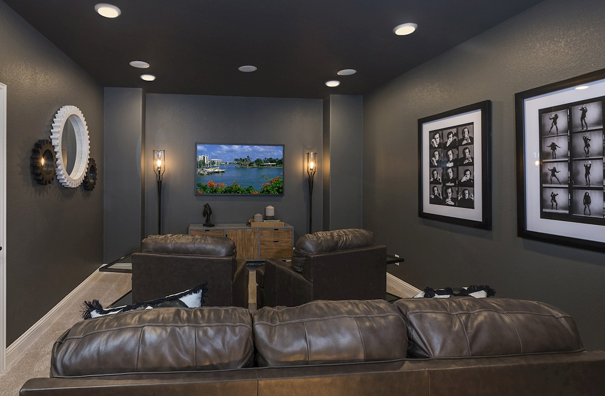 media room with surround sound