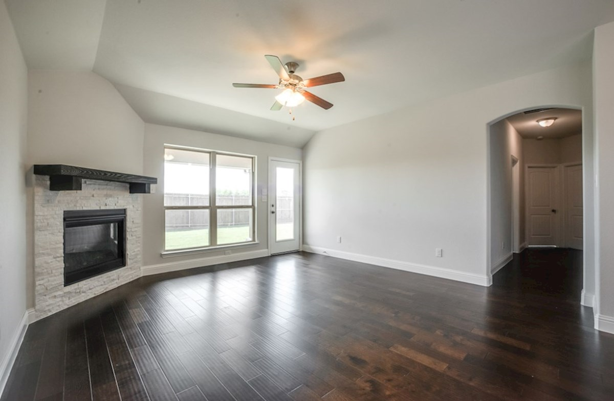 Millbrook quick move-in great room includes wood flooring
