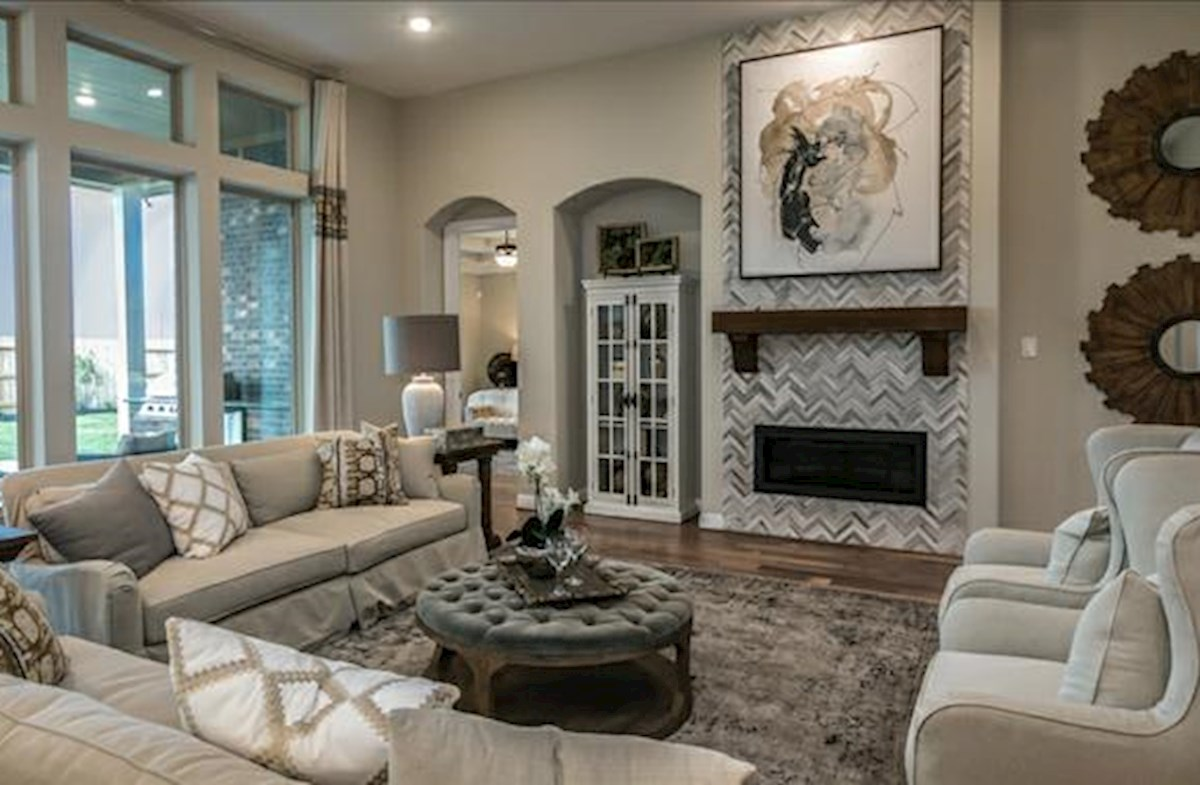 spacious family room with cozy fireplace