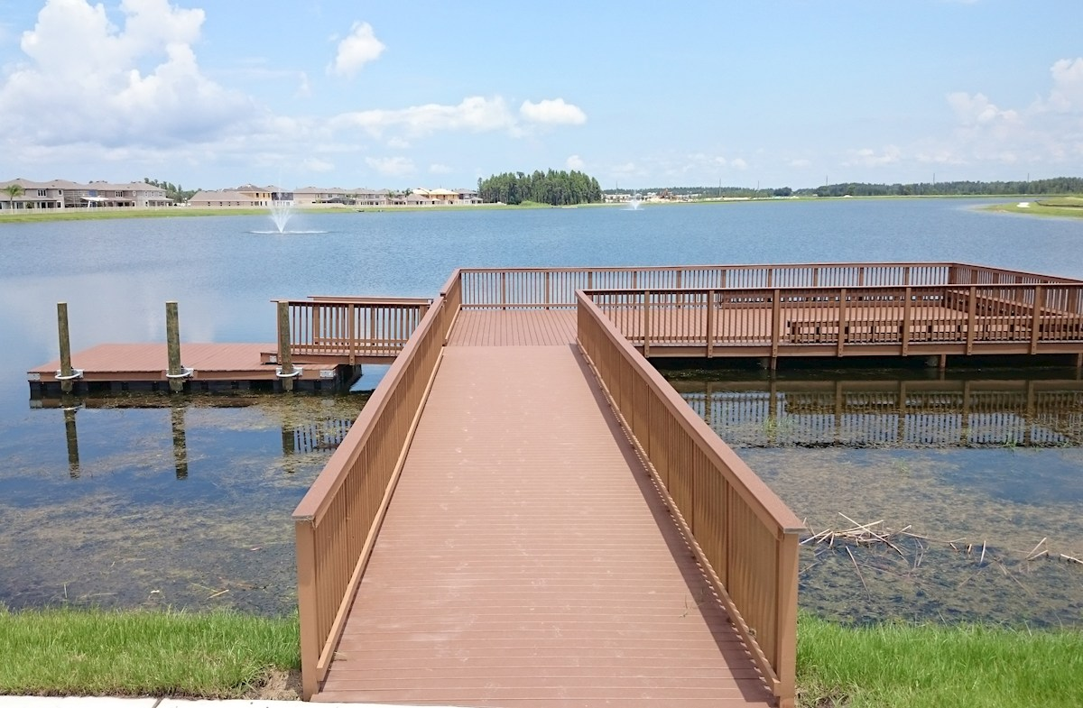 Community dock for access to lake