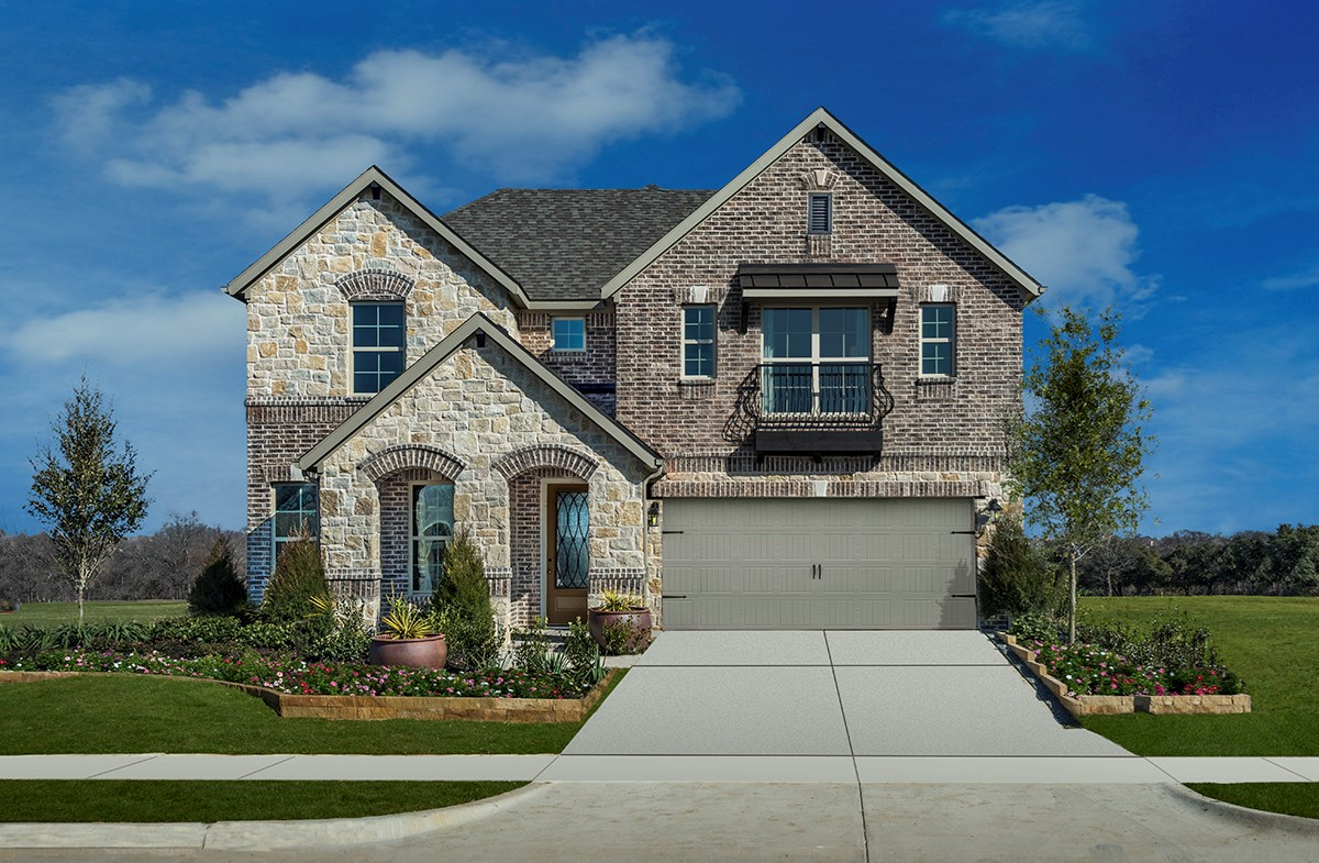 mckinney tx new homes creekside at craig ranch exterior with stone and brick - New Homes