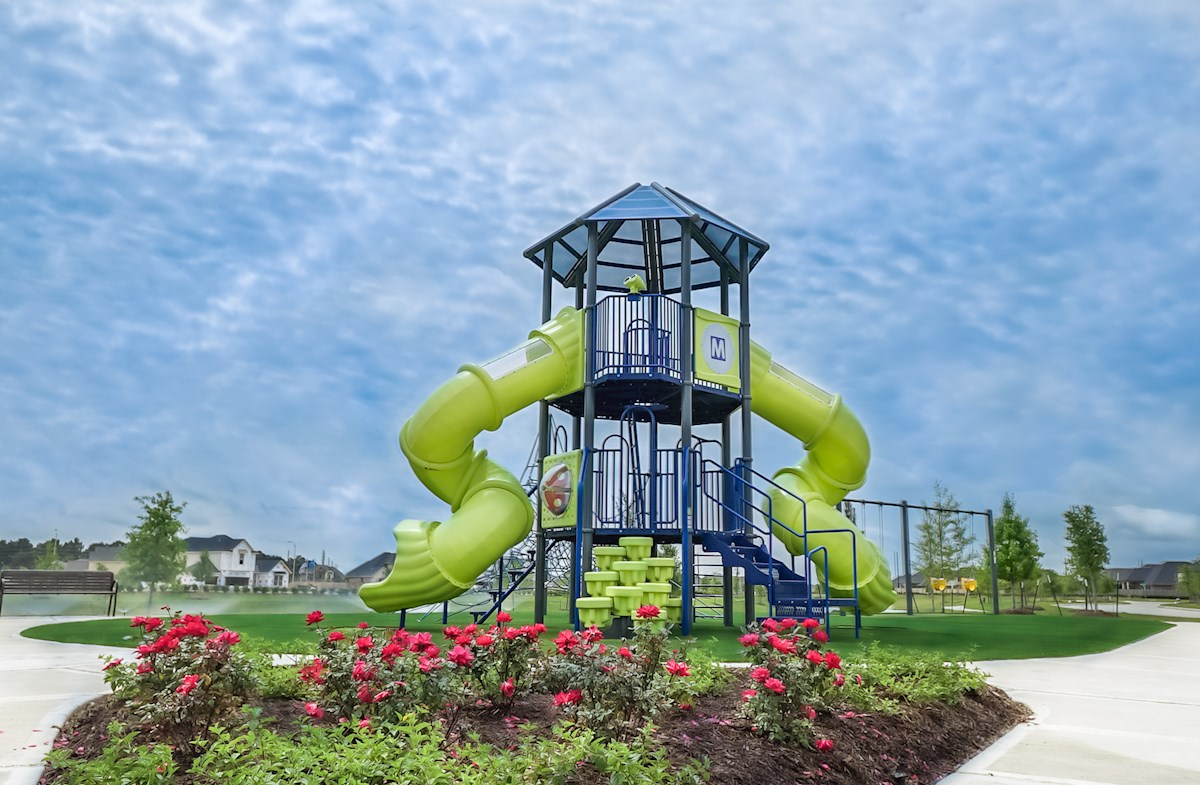 Fun playground includes slides and swings