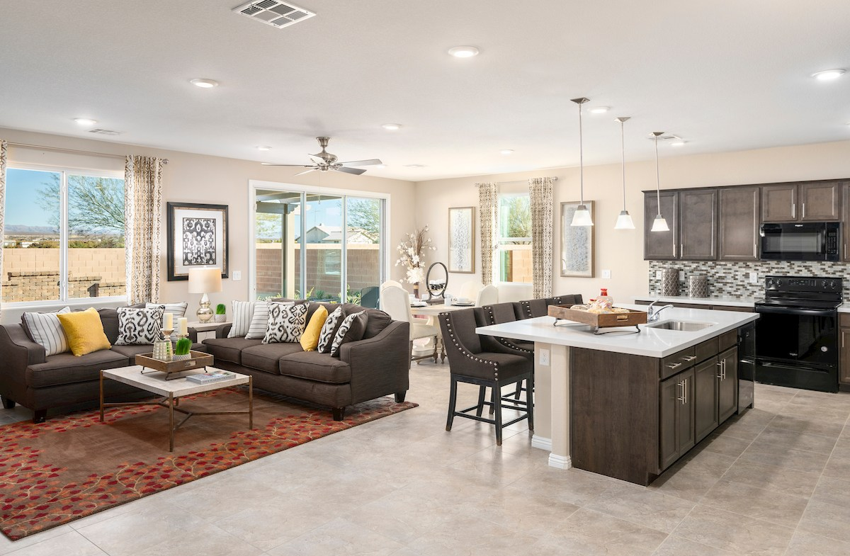 open concept family room in the Sienna model