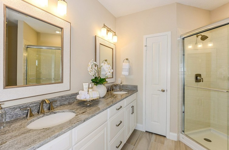 Gatherings® of Lake Nona Chestnut spa-inspired master bath