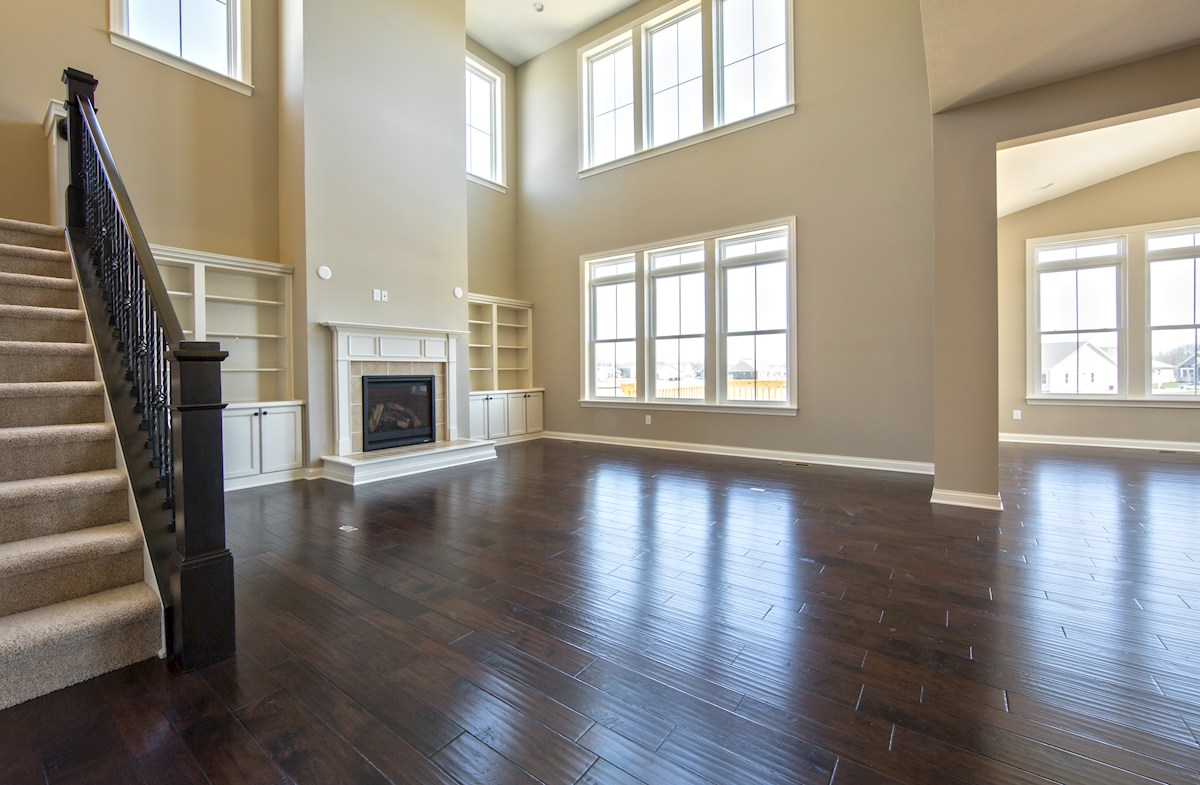 Hampshire Meridian Collection  Oakhill Spectacular great room with cozy gas fireplace