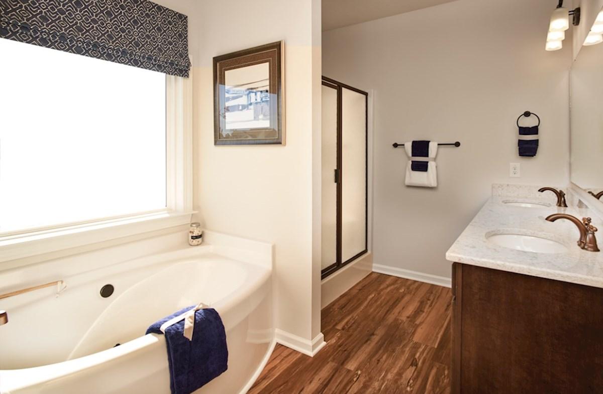 Surfside Plantation Windsor master bathroom features dual shower and bathtub