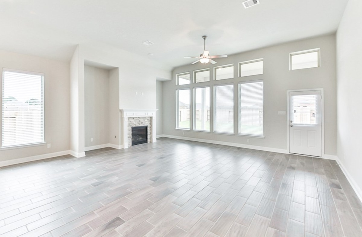 Cameron quick move-in great room with cozy fireplace