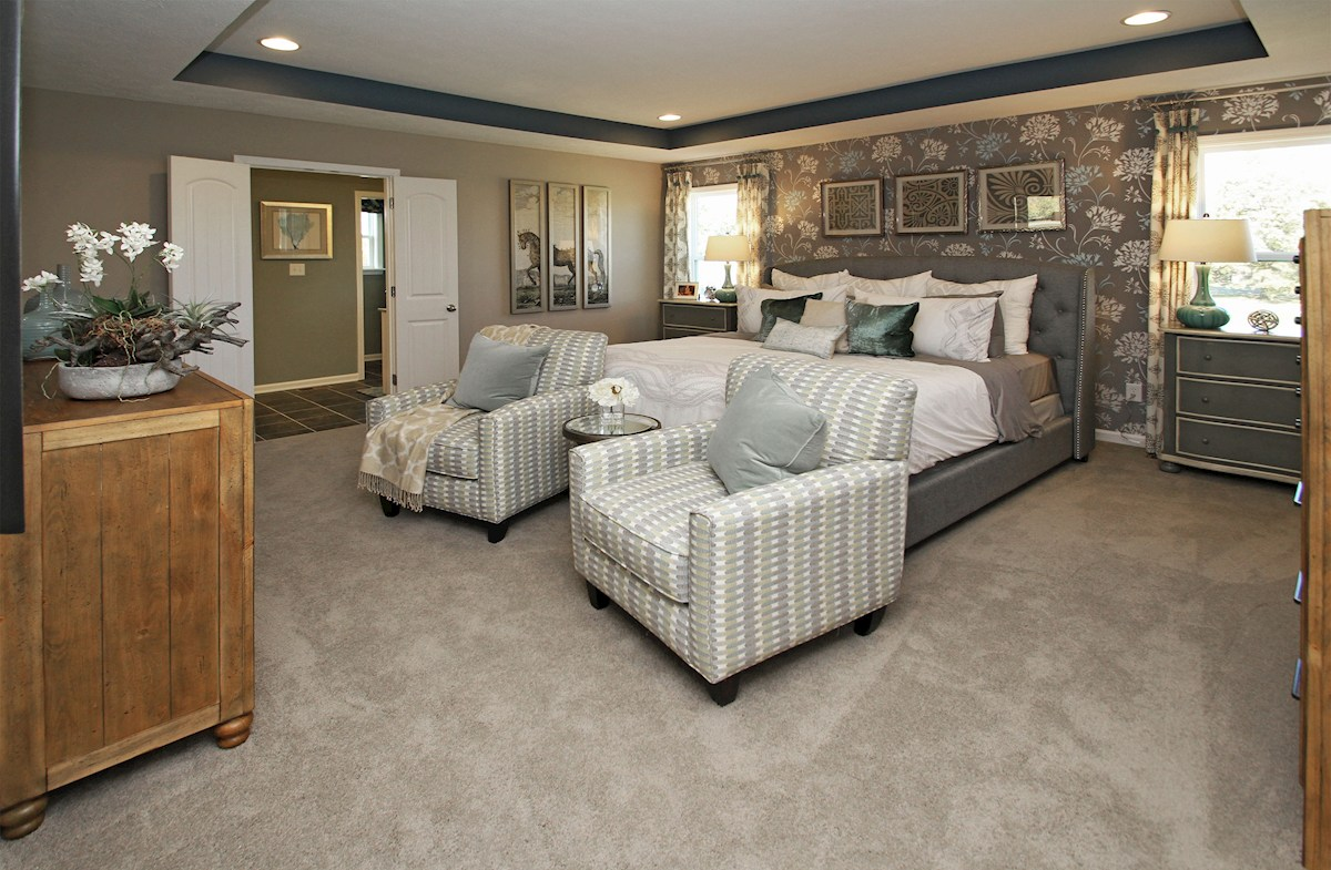 Heritage at Vermillion Jefferson Jefferson master bedroom with trey ceiling and attached bath