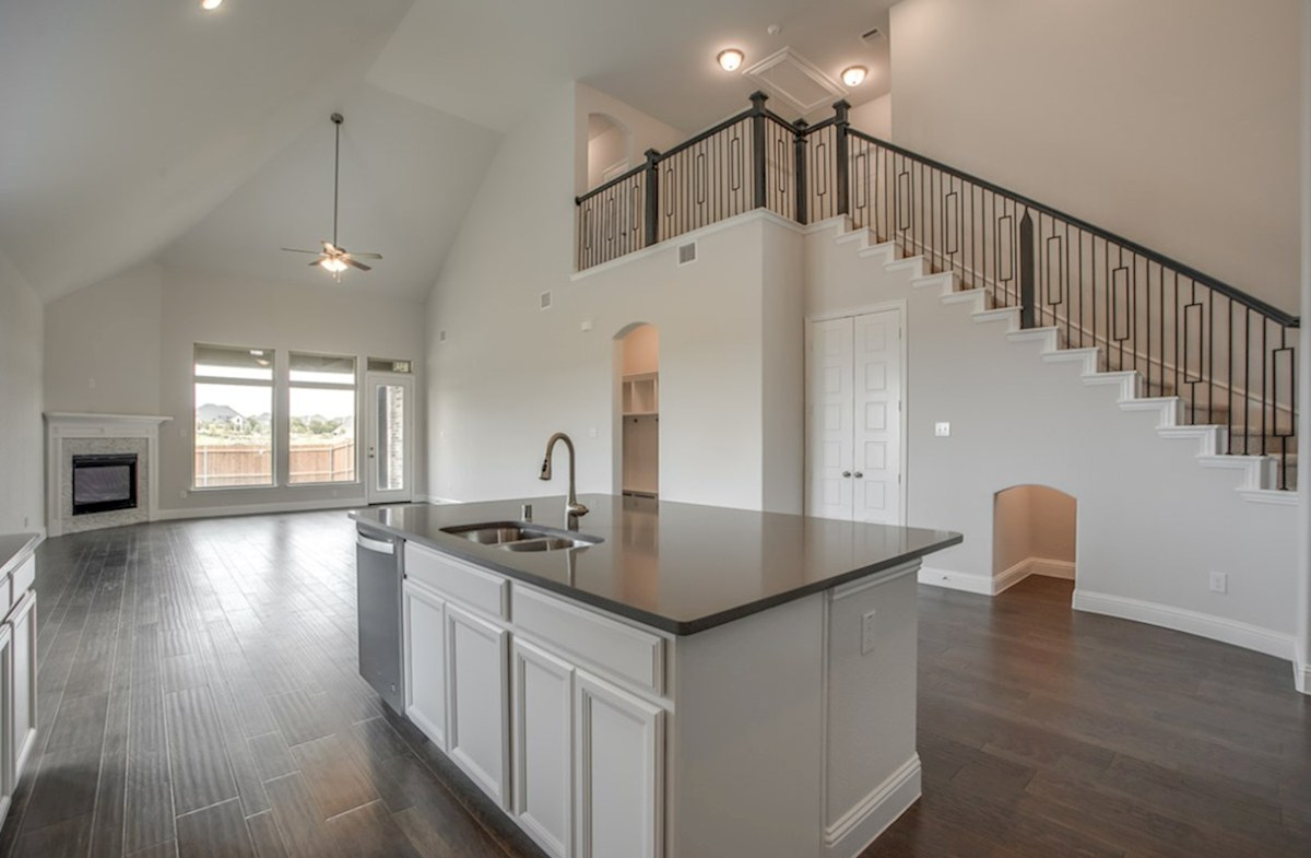 Brighton quick move-in open kitchen with large island and white cabinets