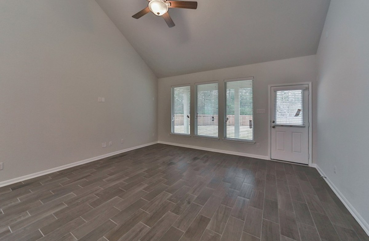 Franklin quick move-in great room with tile flooring and tall ceilings