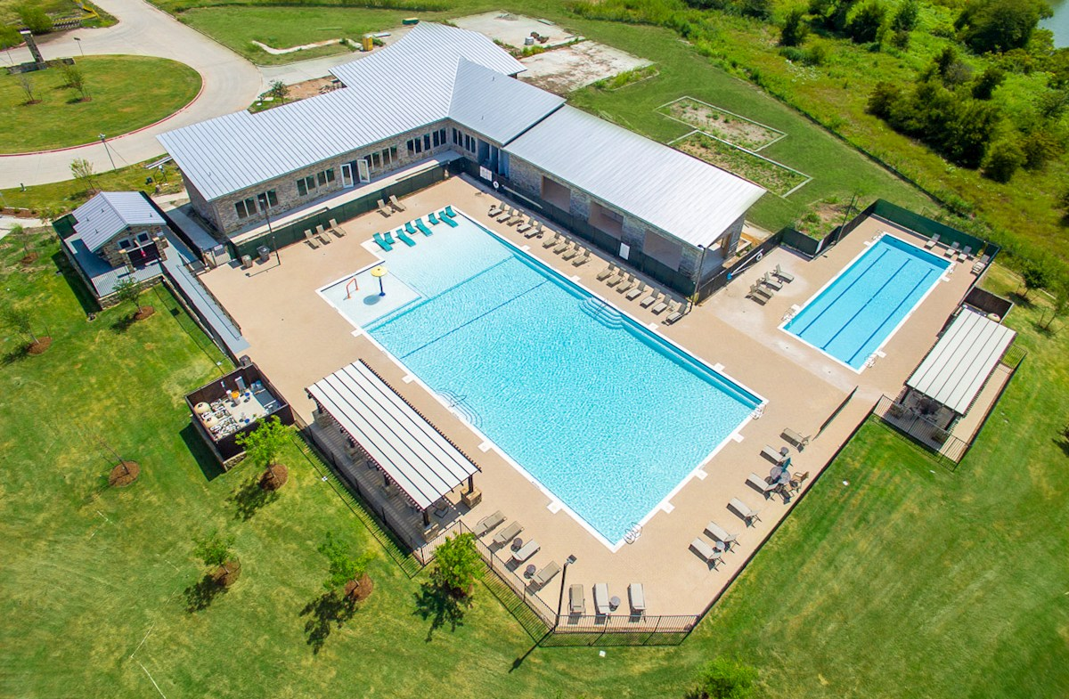 aerial view of community amenity center with pool