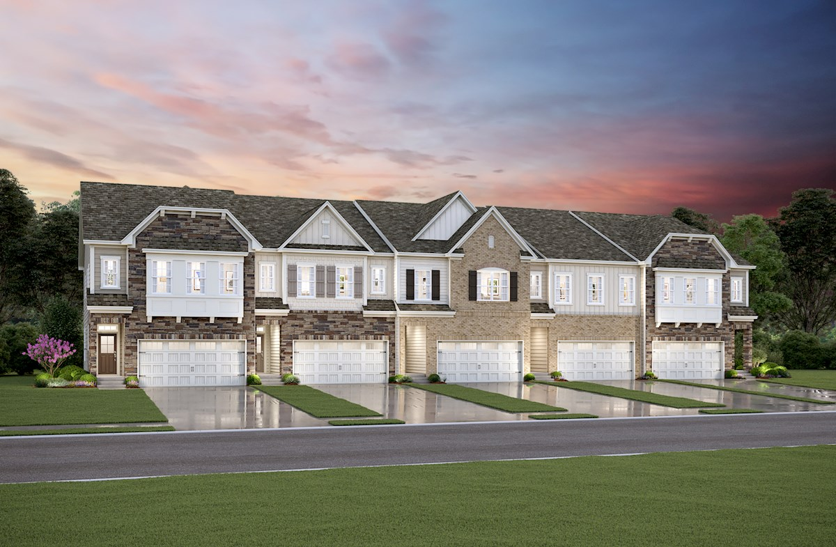 Townhomes with brick and stone exteriors