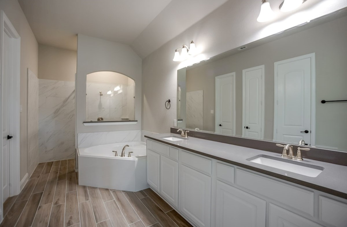 Bandera quick move-in master bath with walk-in shower and soaker tub