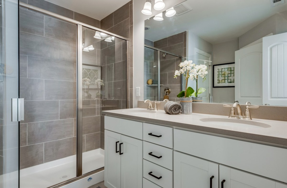 Harpeth Springs Village Jackson master bath with walk-in shower and double sinks