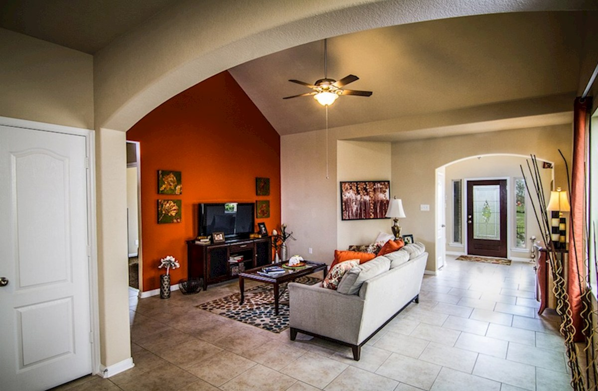 Villages at Harmony Maddox great room with tile flooring
