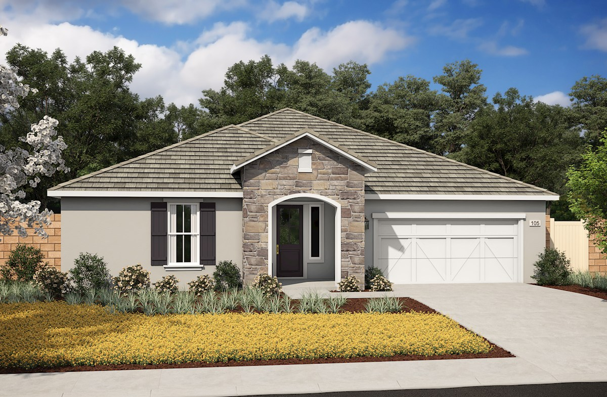 single-story home with 2-car garage