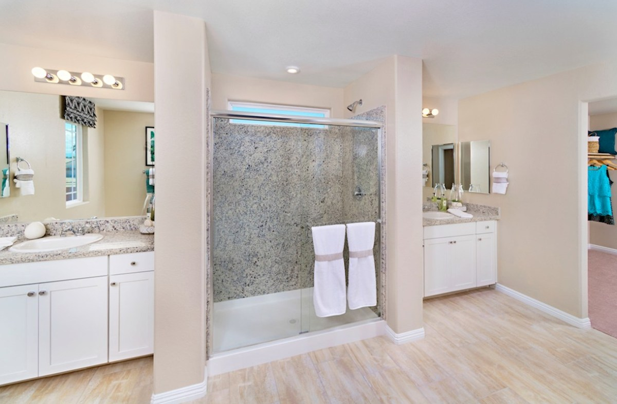 Laurel Place Valencia spa-inspired master bath in the Valencia model