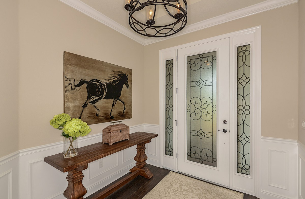 Open foyer with 8' glass entry door and sidelites