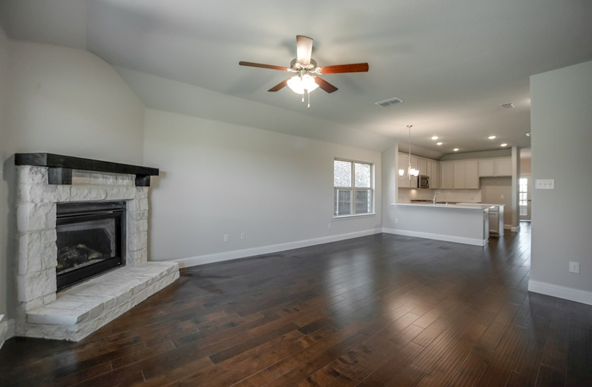 Millbrook quick move-in Millbrook great room with stone fireplace