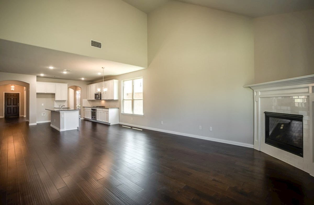 Prescott quick move-in wood flooring throughout kitchen and great room
