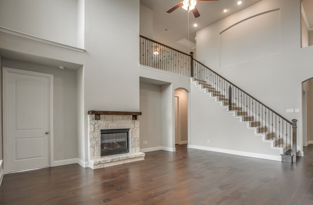 Riverdale quick move-in Riverdale great room with stone fireplace