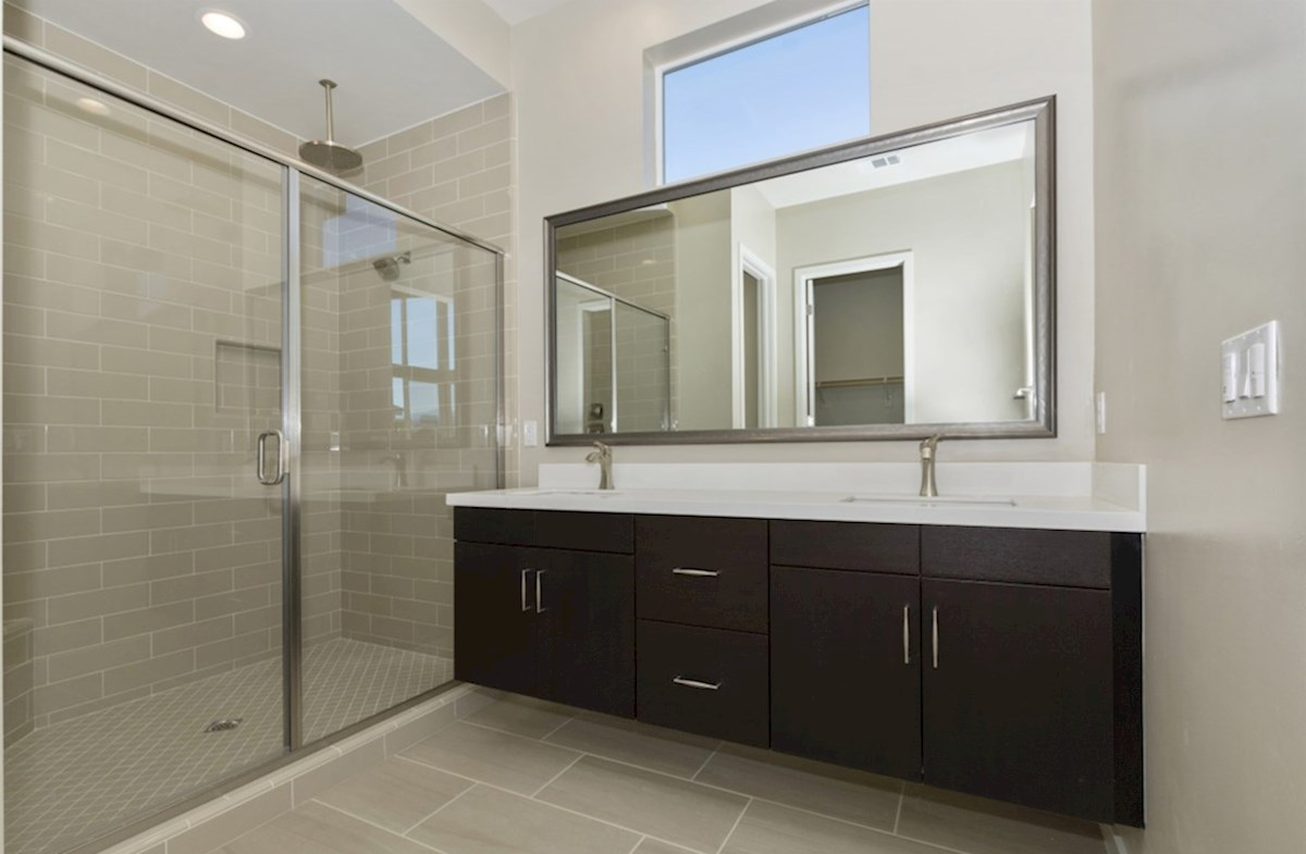 Residence 1 quick move-in Separate vanities give you more space and privacy