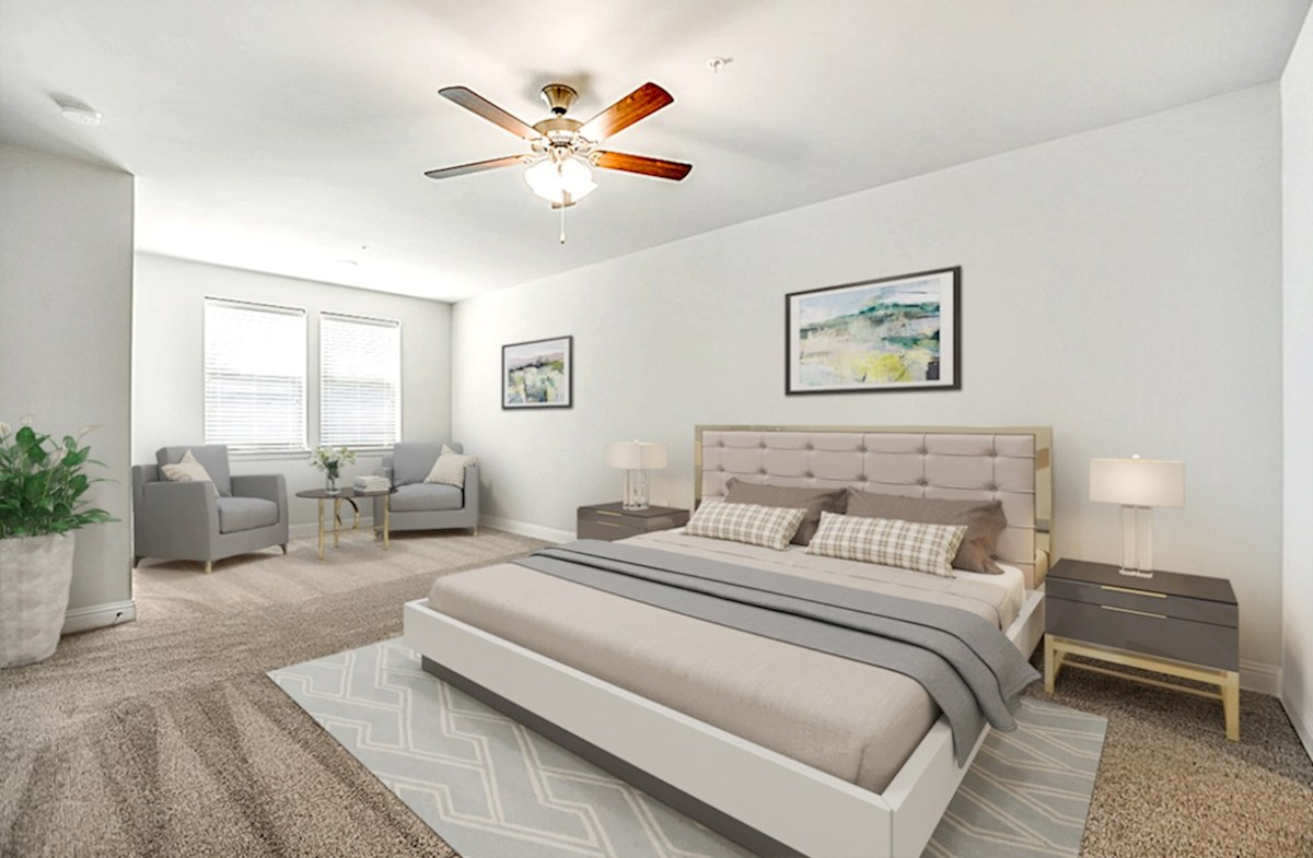 Dorset quick move-in master bedroom with sitting area