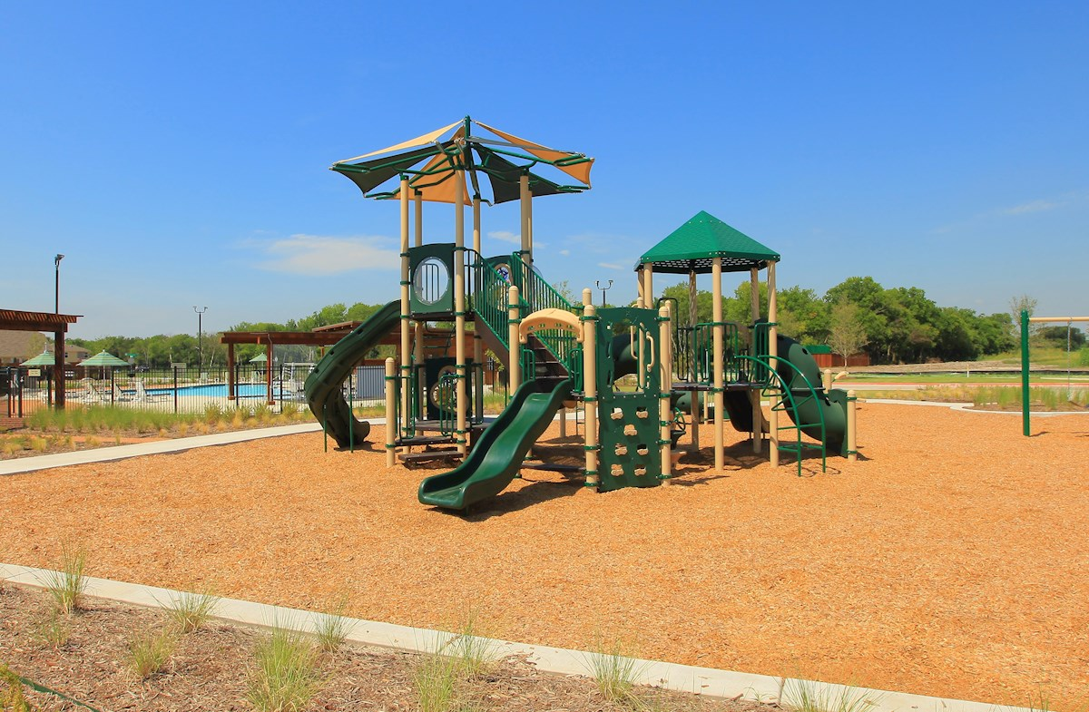 playground with slide and swingset