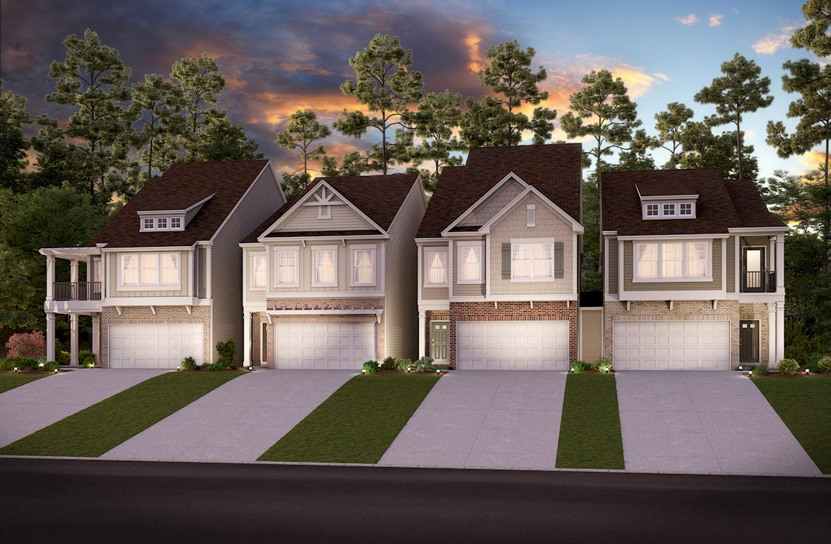 Two-story townhomes with front entry garage