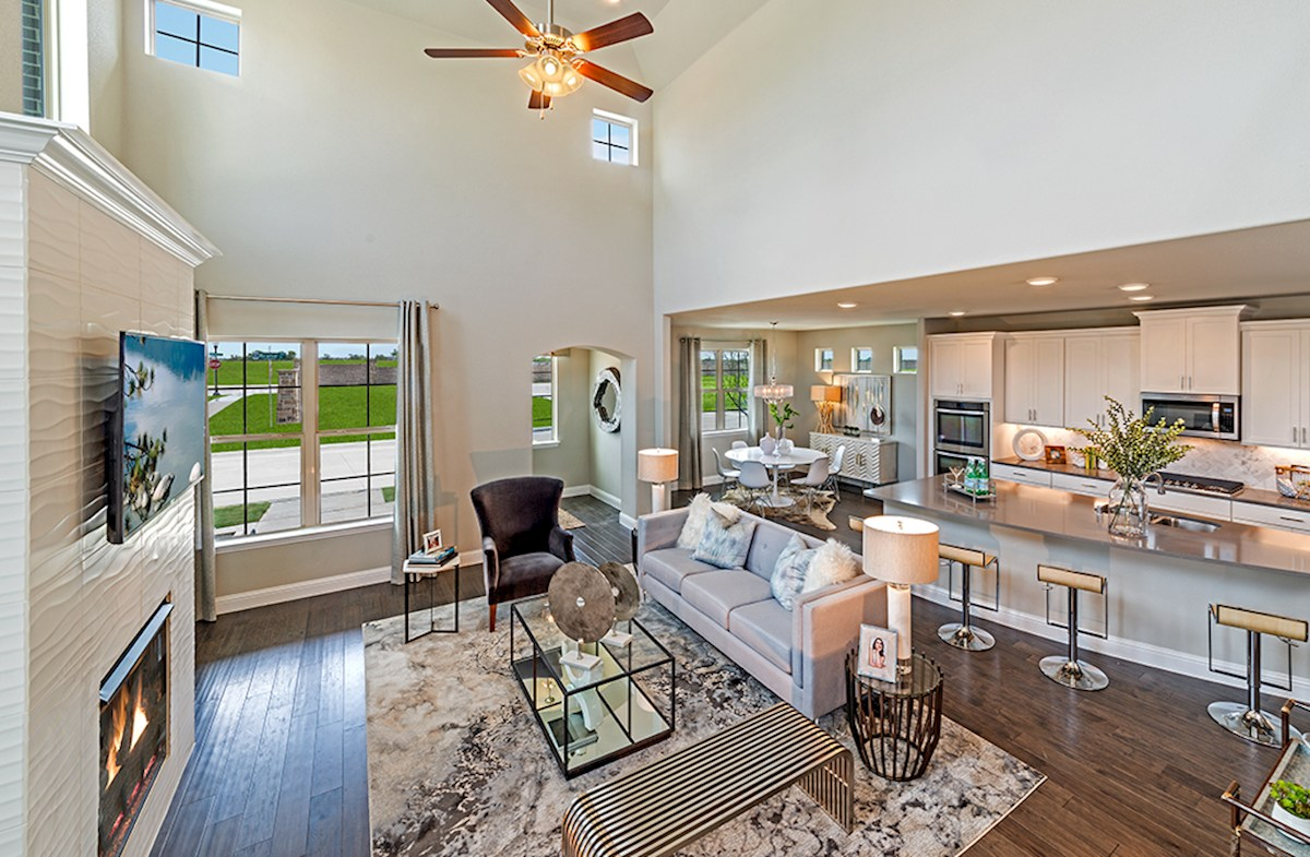 Brazos great room features soaring ceilings