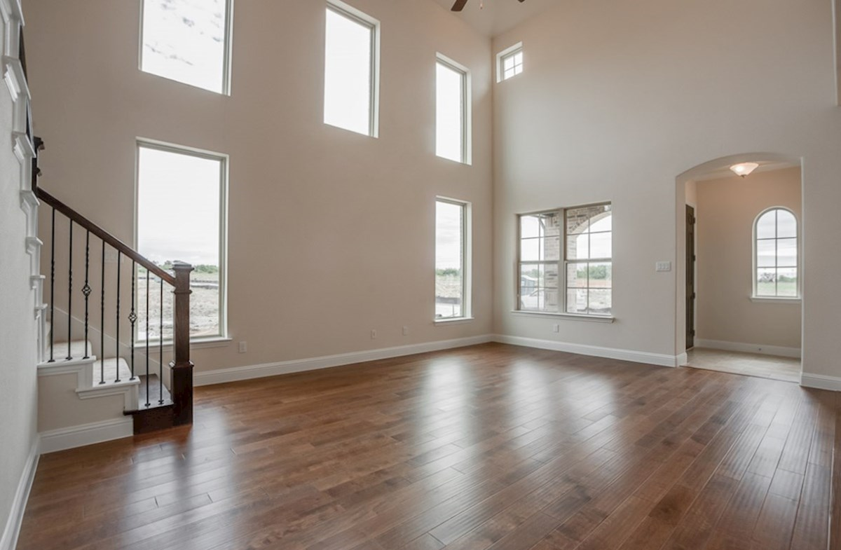 Brazos quick move-in great room with large windows provides natural light