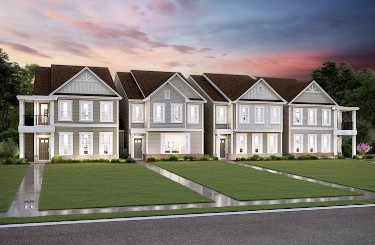 Two-story townhomes with rear-loading garages