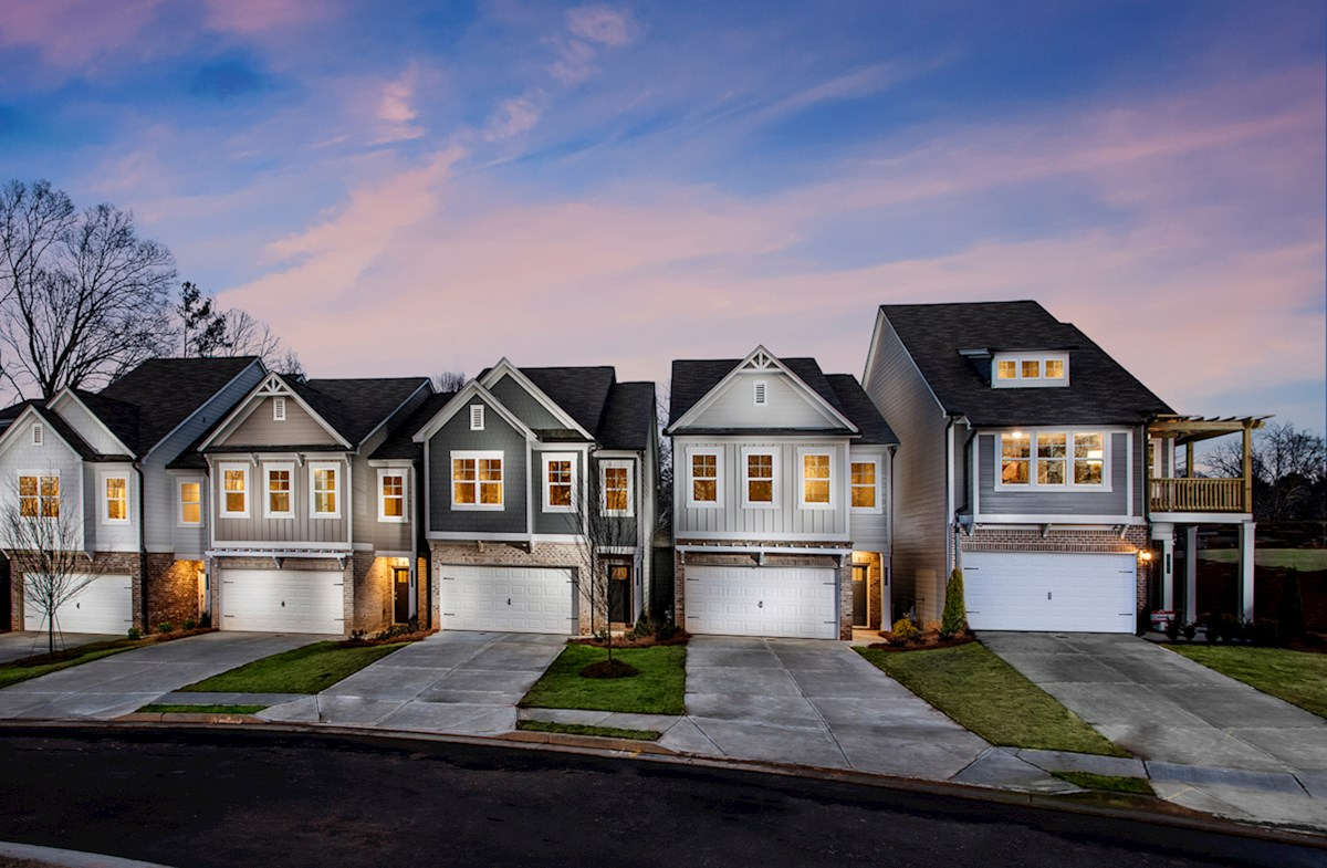 Two-story townhomes with 2-car garages