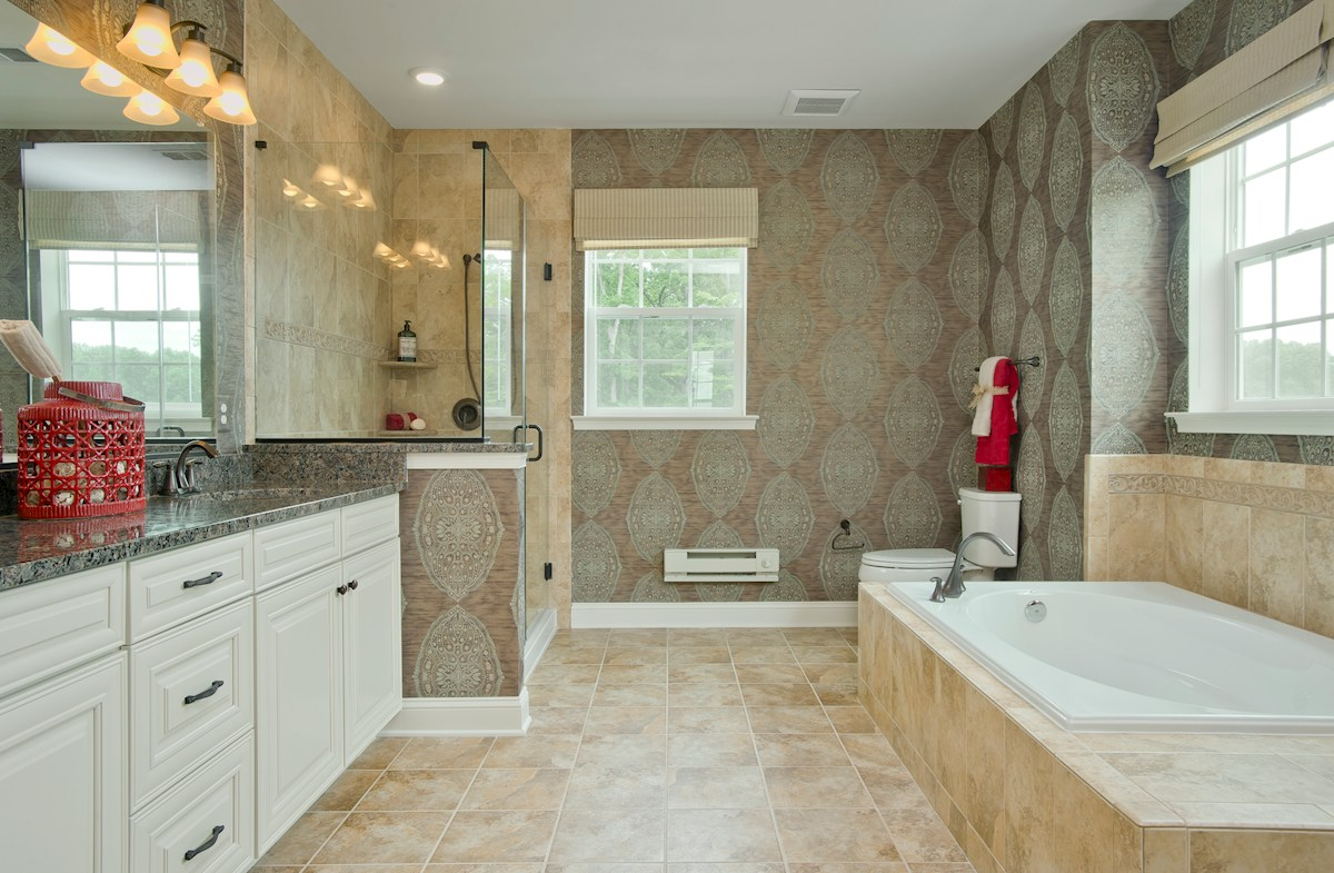 Gatherings® at Quarry Place Dogwood spa-inspired master bathroom