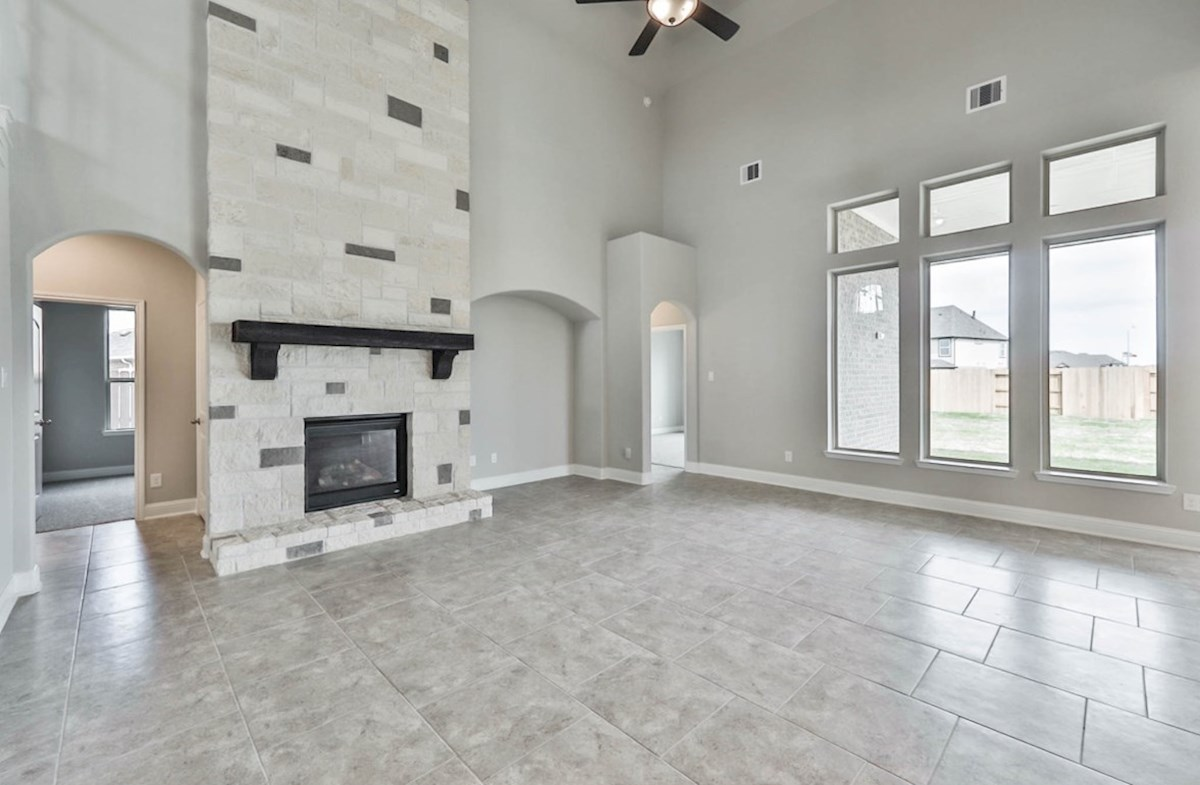 Harper quick move-in great room with fireplace and tile floors