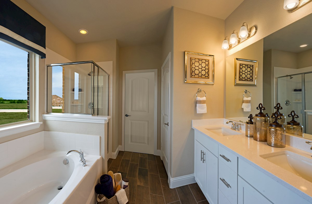 master bath with separate vanities