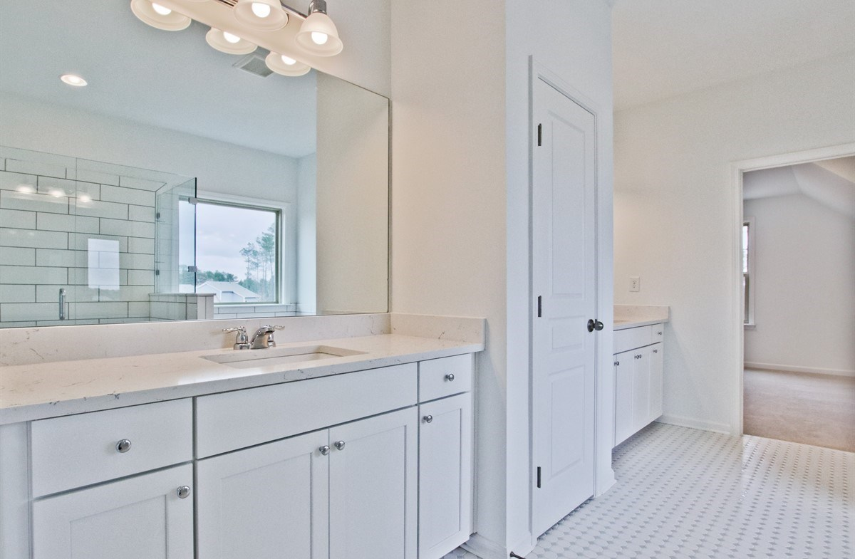 Laurel quick move-in Master Bath with dual sinks