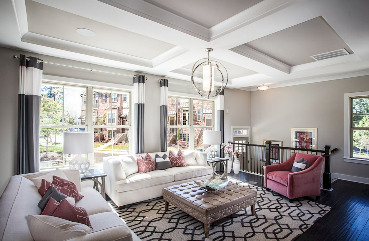 Towns at North Peachtree Camden coffered ceilings in living room