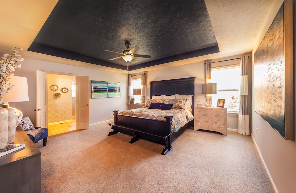 Jefferson master bedroom with trey ceiling