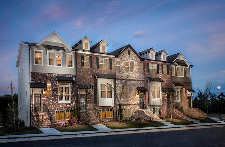 Brick front townhomes